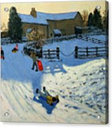 Children Sledging Acrylic Print by Andrew Macara