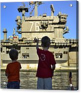 Children Wave As Uss Ronald Reagan Acrylic Print by Stocktrek Images