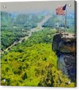 Chimney Rock Nc Acrylic Print by Elizabeth Coats