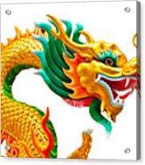 Chinese Beautiful Dragon Isolated On White Background Acrylic Print by Nichapa Sornprakaysang