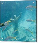 Christ Of The Deep Statue In A Coral Acrylic Print by Mike Theiss