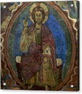 Christ Pantocrator Fresco. Basilica Saint-julien. Brioude. Haute Loire. Auvergne. France. Acrylic Print by Bernard Jaubert