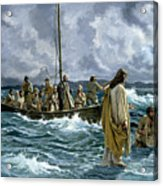 Christ Walking On The Sea Of Galilee Acrylic Print by Anonymous
