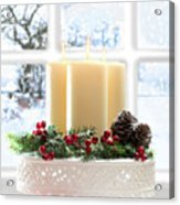 Christmas Candles Display Acrylic Print by Amanda Elwell