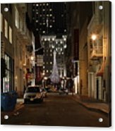Christmas Eve 2009 On Maiden Lane Acrylic Print by Wingsdomain Art and Photography