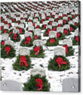Christmas Wreaths Adorn Headstones Acrylic Print by Stocktrek Images