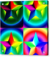 Chromatic Star Quartet With Ring Gradients Acrylic Print by Eric Edelman