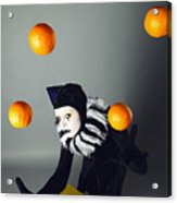 Circus Fashion Mime Juggles With Five Oranges. Photo. Acrylic Print by Kireev Art