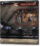 City - Ny South Street Seaport - Ship Carvers Acrylic Print by Mike Savad