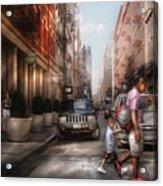 City - Ny - Walking Down Mercer Street Acrylic Print by Mike Savad