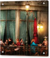 City - Vegas - Paris - The Outdoor Cafe  Acrylic Print by Mike Savad