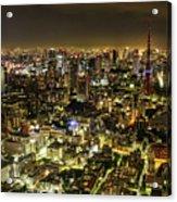 Cityscape At Night Acrylic Print by Agustin Rafael C. Reyes