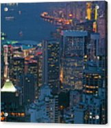 Cityscape From Victoria Peak Acrylic Print by Sami Sarkis