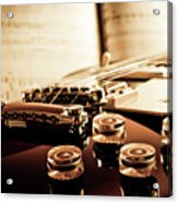 Classic Guitar Still Life With Notes Acrylic Print by A Driempixel Photo