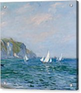 Cliffs And Sailboats At Pourville  Acrylic Print by Claude Monet