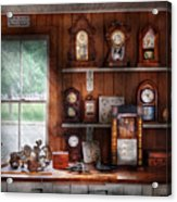 Clocksmith - In The Clock Repair Shop Acrylic Print by Mike Savad