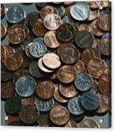Close View Of United States Coins Acrylic Print by Vlad Kharitonov