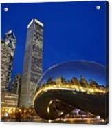 Cloud Gate The Bean Sculpture In Front Acrylic Print by Axiom Photographic