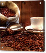 Coffee Cup With Burlap Sack Of Roasted Beans  Acrylic Print by Sandra Cunningham