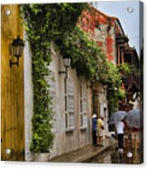 Colonial Buildings In Old Cartagena Colombia Acrylic Print by David Smith