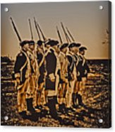 Colonial Soldiers On Parade Acrylic Print by Bill Cannon