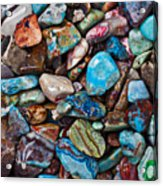 Colored Polished Stones Acrylic Print by Garry Gay