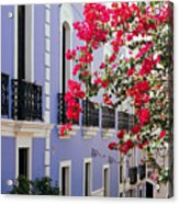 Colorful Balconies Of Old San Juan Puerto Rico Acrylic Print by George Oze