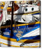 Colorful Boats Acrylic Print by Lainie Wrightson