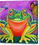 Colorful Smiling Frog-voodoo Frog Acrylic Print by Nick Gustafson