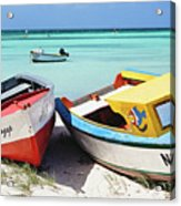 Colorful Traditional Fishing Boats Acrylic Print by George Oze