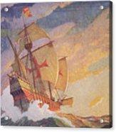 Columbus Crossing The Atlantic Acrylic Print by Newell Convers Wyeth