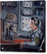 Communications Operator Acrylic Print by Kostas Koutsoukanidis