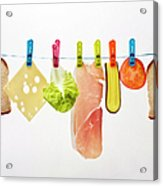 Components Of Sandwich Pegged To Washing Line Acrylic Print by Image by Catherine MacBride