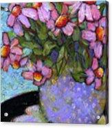 Coneflowers In Lavender Vase Acrylic Print by Blenda Studio