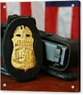 Contemporary Fbi Badge And Gun Acrylic Print by Everett