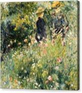 Conversation In A Rose Garden Acrylic Print by Pierre Auguste Renoir