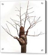 Copper Tree Hand A Sculpture By Adam Long Acrylic Print by Adam Long