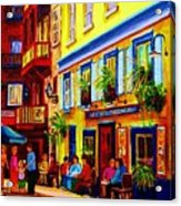 Courtyard Cafes Acrylic Print by Carole Spandau