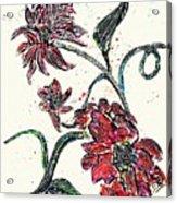 Crayon Flowers Acrylic Print by Sarah Loft