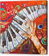 Crazy Fingers - Piano Keyboard  Acrylic Print by Sue Duda
