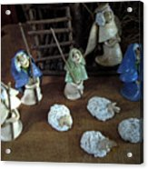 Creche Shepards And Sheep Acrylic Print by Nancy Griswold
