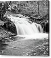 Creek Merge Waterfall In Black And White Acrylic Print by James BO  Insogna