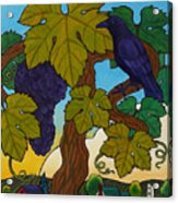Crow With Wine On The Vine Acrylic Print by Stacey Neumiller