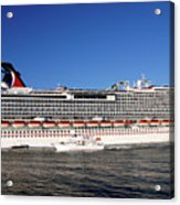 Cruise Ship Is Leaving The Port Acrylic Print by Susanne Van Hulst