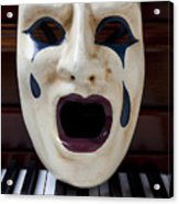Crying Mask On Piano Keys Acrylic Print by Garry Gay
