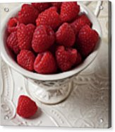 Cup Full Of Raspberries  Acrylic Print by Garry Gay