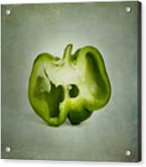 Cut Green Bell Pepper Acrylic Print by Bernard Jaubert