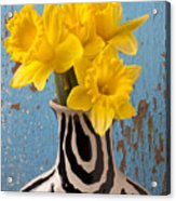 Daffodils In Wide Striped Vase Acrylic Print by Garry Gay