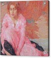 Dame En Rose Acrylic Print by Edmond Francois Aman Jean