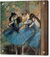 Dancers In Blue Acrylic Print by Edgar Degas